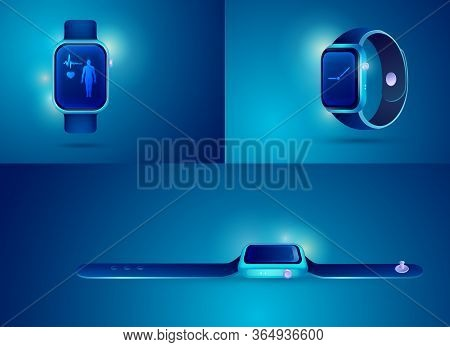 Graphic Of Realistic Smartwatch For Health Care Technology Decoration