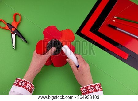 Step 7. Step By Step Instructions. How To Make A Red Poppy From Colored Paper. Creative Crafts For V