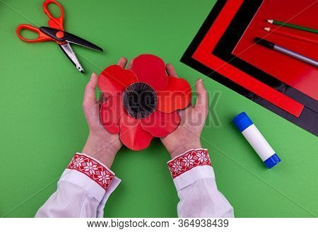 Step 8. Step By Step Instructions. How To Make A Red Poppy From Colored Paper. Creative Crafts For V