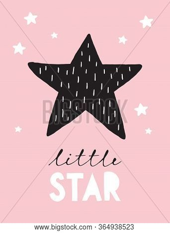 Little Star Funny Black Star Isolated On A Light Pink Background. Simple Baby Shower Card. Cute Infa