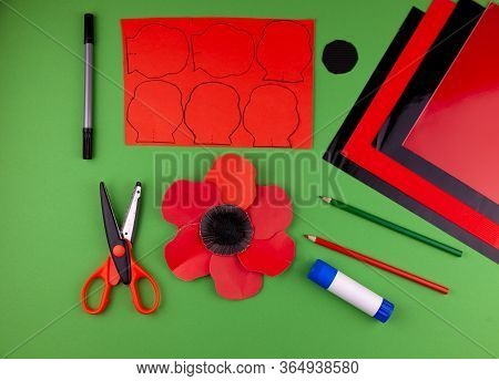 Step 9. Step By Step Instructions. How To Make A Red Poppy From Colored Paper. Creative Crafts For V