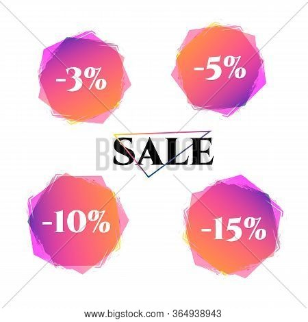 Price Tag Discount 3 5 10 15 Sale Set Bright Duotone Gradient Banner For Web Stores Shop Online Sale