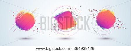 Bright Duotone Gradient Banner For Web Stores Shop Online Sale Sticker Promo Action Set Design Eleme