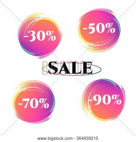 Price Tag Discount 30 50 70 90 Sale Set Bright Duotone Gradient Banner For Web Stores Shop Online Sa