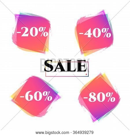 Price Tag Discount 20 40 60 80 Sale Set Bright Duotone Gradient Banner For Web Stores Shop Online Sa