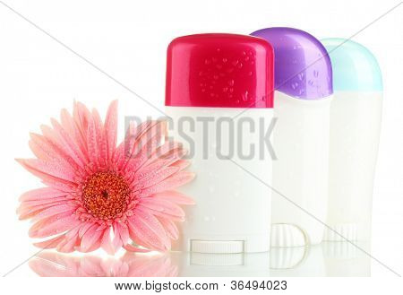 deodorants with flower isolated on white poster