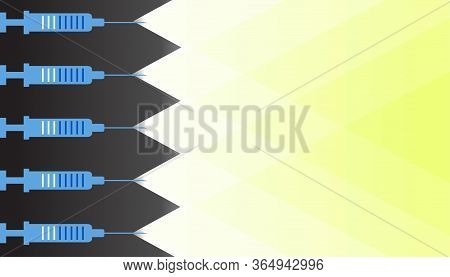 Syringes With An Antiviral Drug With Rays Of Light From It, The Concept Of Overcoming A Dangerous De