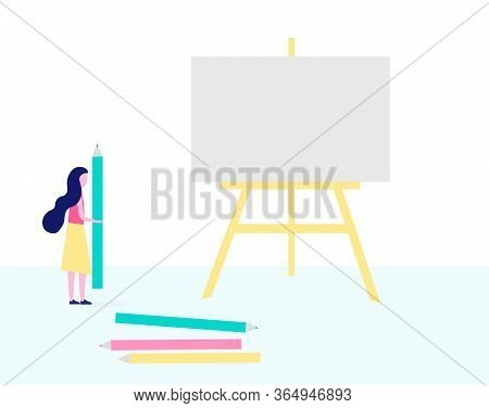 Woman Draws A Picture With Pencils On Canvas And Easel. Concept Of Hobbies, Creativity, Art, Drawing