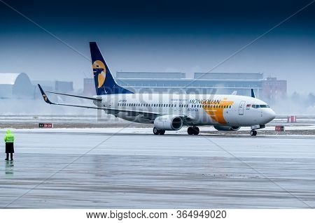 Moscow, Russia - December 03, 2019: The Plane Of The Prime Minister Of Mongolia Ukhnaagiin Khürelsük