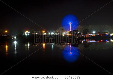 Pleasure Ground at night in Northampton UK