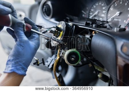 Close Up Car Steering Wheel Repair After The Accident.