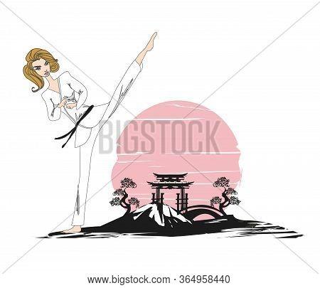 Illustration Of A Fighting Girl Karate Design , Vector Illustration