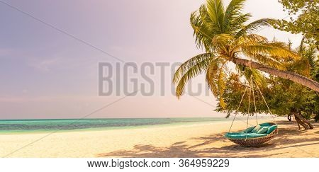 Tropical Beach Sunset As Summer Landscape With Luxury Resort Beach Swing Or Hammock And White Sand A