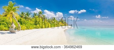 Luxury Summer Beach, Paradise Island Landscape. Tropical Island Paradise, Resort Or Hotel Panorama B