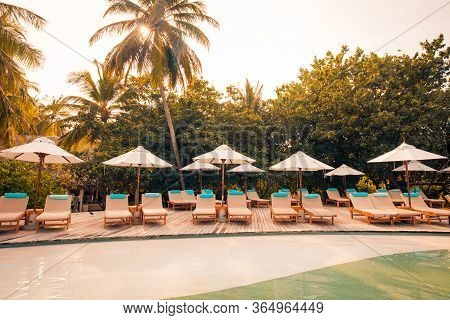 Luxury Swimming Pool On The Beach, Tranquil Scene Of Exotic Tropical Landscape With Copy Space, Summ