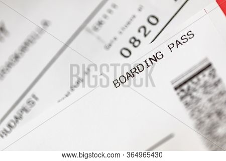 Boarding Pass To The Passenger Airplane. White Boarding Pass