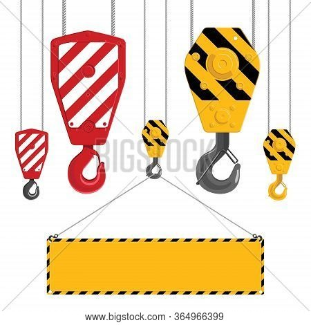 Industrial Hooks Collection. Metal Crane Hook With Cables Isolated On A White Background. Industrial