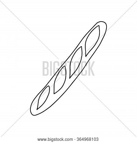 Baguette With Incisions In The Style Of Doodle.outline Drawing By Hand.black And White Image.monochr