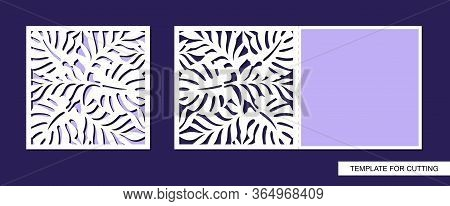 Greeting Card Folding In Half With A Pattern Of Leaves. Spring And Summer Theme Of Nature. Place For