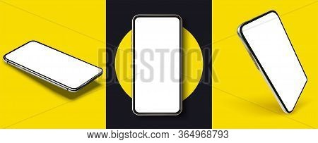 Smartphone Frame Less Blank Screen, Rotated Position. Smartphone From Different Angles. Mockup Gener
