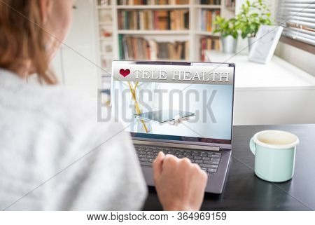 tele health concept woman with laptop at home