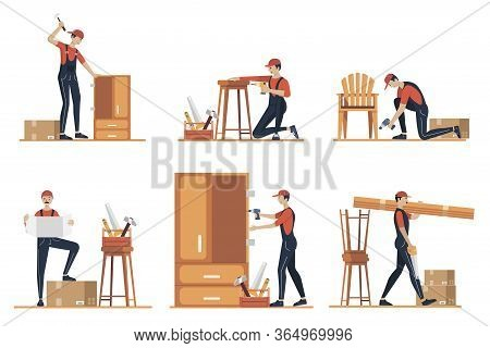 Furniture Assembly Concept Illustration. Workers Of Manufacture With Professional Tools. Help From F