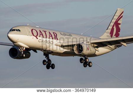 Budapest / Hungary - September 27, 2018: Qatar Airways Cargo Airbus A330-200 A7-afy Cargo Plane Arri