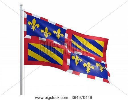 Bourgogne (region Of France) Flag Waving On White Background, Close Up, Isolated. 3d Render
