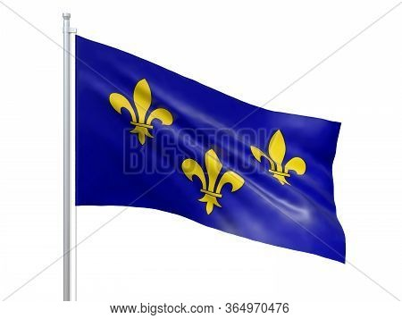 Ile-de-france (region Of France) Flag Waving On White Background, Close Up, Isolated. 3d Render