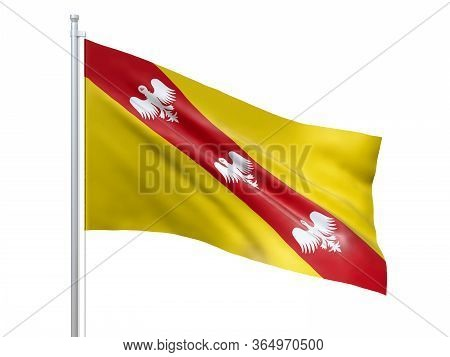 Lorraine (region Of France) Flag Waving On White Background, Close Up, Isolated. 3d Render