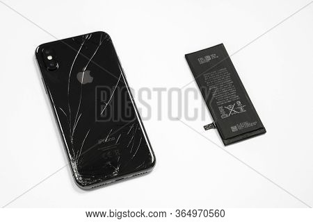 April 11, 2020, Rostov-on-don, Russia: Broken Iphone Of Space Grey Color, Lithium Ion Battery For Mo