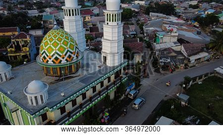 The Mosque In The Afternoon At Bekasi, Indonesia. The Great Mosque Is A Large Mosque In The Bekasi A