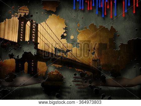 Manhattan Bridge NYC. Grunge Painting. 3D rendering