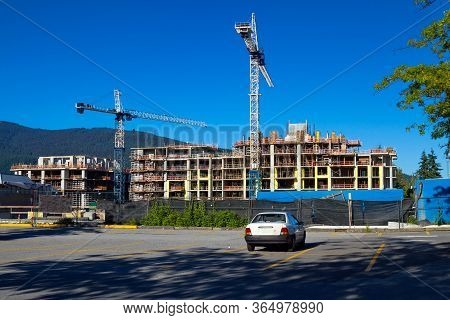 Construction Of New High-rise Buildings In Residential District Of North Vancouver City, Constructio
