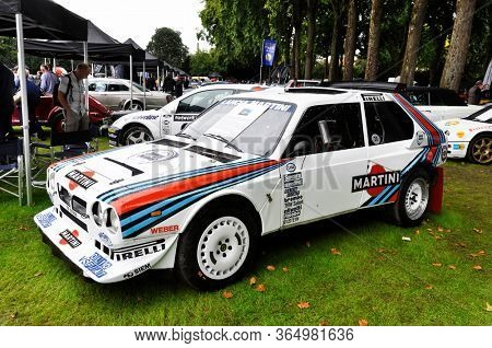 LONDON, UK - CIRCA SEPTEMBER 2011: A Lancia Delta S4 at Chelsea Autolegends. The Lancia Delta S4 was a Group B rally car, here with a Martini livery.