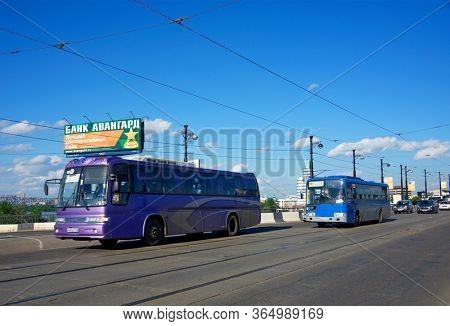 IRKUTSK, RUSSIA - 04 JULY, 2016: Street scene with typical Russian architecture in the center of Irkutsk, Siberia, Russia