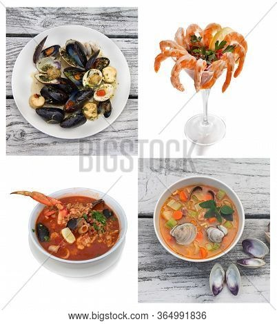 Seafood Collage. Includes  Bruschetta, Shrimp Cocktail, Cioppino Stew, Manhattan Clam Chowder