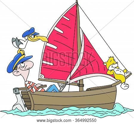 Cartoon Captain Sailing With His Cat And Seagull Vector Illustration