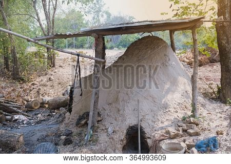 Antique Charcoal Kiln Made From Clay, Used For Burning Charcoal,thailand.