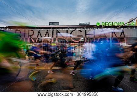 Birmingham, United States: February 16, 2020: Marathon Runners Take Off In The Mercedes-benz Maratho