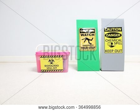 The Biohazard Spill Kit Boxes With Warning Danger Caution Biohazard Tag Sign Or Symbol For Emergency