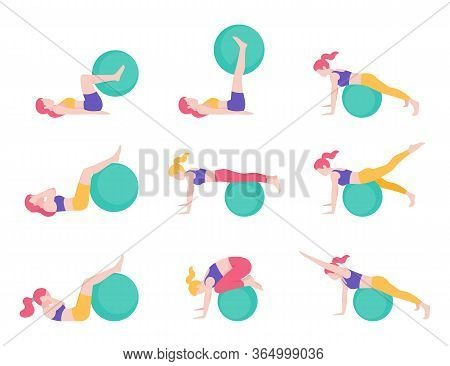 Women Fitness Exercise Ball Workout Posture Vector Illustrations.