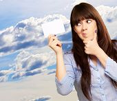 Portrait Of A Girl Holding And Making A Pout, Outdoor poster