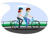 Vector illustration of a cartoon couple in cycling mood on nature background. Please see some similar pictures in my lightboxs: poster