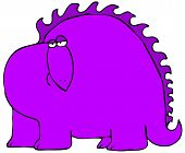 This illustration depicts a side view of a comical purple dinosaur. poster