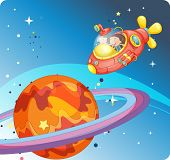 illustration of a kids in spaceship and saturn poster