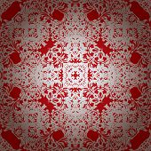 Royal red seamless repeating illustrated background with silver overlay poster