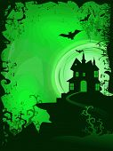 Scary Halloween background with haunted house. EPS 10. poster