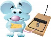 a mouse caught in a mouse trap wondering if it was worth the cheese that he is holding. poster