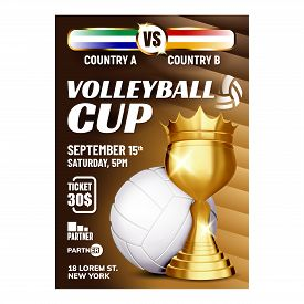 Volleyball Sport Champion Cup Award Poster Vector. Volleyball Ball And Golden Mug Trophy For Winner